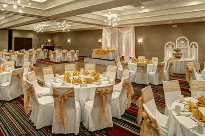 Marquis Ballroom decorated in white and gold